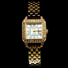 """WATCH WHITE CUBIC ZIRCONIA STERLING SILVER WRIST 14K GOLD PLATED LENGTH 7.5"""""""