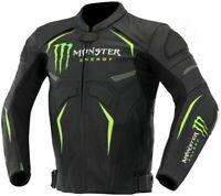Monster Energy Scream Motorcycle Motorbike Racing Rider Cowhide Leather Jacket