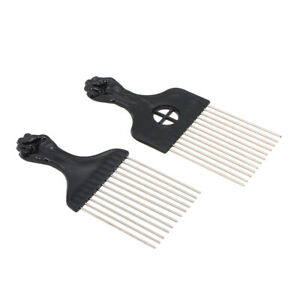 4PCS Black Comb Set Metal Afro Hair Style Comb Curly Hairdressing Set T5F2
