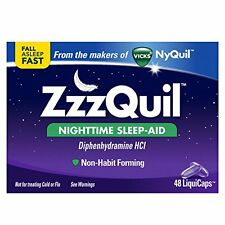 NEW Vicks ZzzQuil Nighttime Sleep Aid 48 Liquicaps Exp 2018 zquil nyquil night