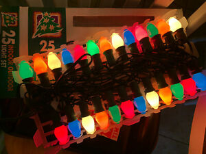 Vintage c-7 1/2 Christmas NEW Light String w/Colored Bulbs Replac Bulbs