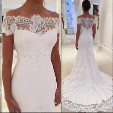Full Lace Mermaid Wedding Dresses Off the Shoulder Short Sleeves Chapel Train