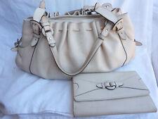 LOT Sac Le TANNEUR Mathilde + portefeuille compagnon cuir blanc cassé besace