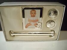 Baby Silverplate Set,Photo Frame, Birth Certificate Holder, First Tooth Holder,