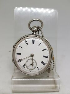 Antique solid silver gents Chester pocket watch 1895 W/O ref1517