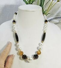 Vintage Pearl Black and Gold Tone Bead Matinee-length Statement Necklace