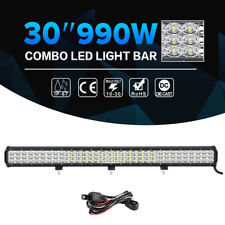 "30""inch 990W CREE LED Light Bar Tri-row Combo Offroad Jeep Driving UTE Truck 32"""