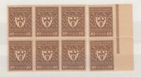 Germany 1922 10 Mark Commercial Block Of 8 MNH J2590