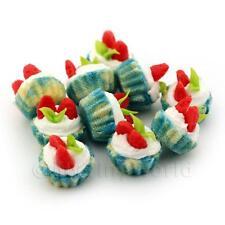 4x Miniature Fresa y Crema Cupcakes con un color azul Vasos Papel