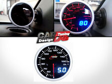 52mm/60mm Digital Dual Gauge OIL Temp Meter WHITE/RED LED/SMOKED LENS+SENSOR