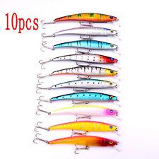 10pcs/set Minnow Fishing Lure Crank Bait Hook Bass Crankbait Tackle 11.5cm 11.2g