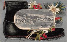 Oberstaufen Totalansicht, Postkarte mit Schuh Edelweiß geprägt 1917