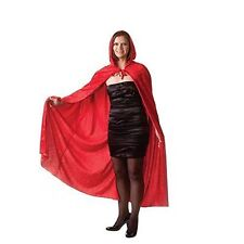 Adult Red Velvet Hooded Cape Cloak Halloween Fancy Dress