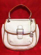 "BRIGHTON White/Brown ""PARKER"" Pebbled Saddle Bag Handbag"