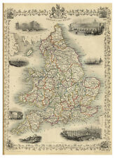 England London Yorkshire Wales British Islands illustrated map Tallis ca.1851