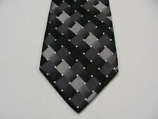 Gris y Negro - Dibujo Geométrico - 100% Corbata de Seda