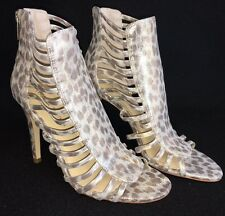 891507e46508 Ivanka Trump Davinic Gold Leopard Print Strappy Caged Dress Sandals Women s   140