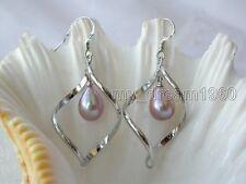 Fashion 9-10MM Purple Freshwater Akoya Pearl Dangle Sterling Silver Earrings New