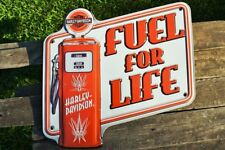 Harley Davidson Gas Pump Embossed Tin Metal Sign - Bar & Shield - Fuel For Life