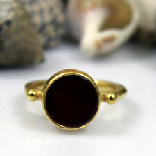Handmade Hammered Carnelian Ring 925K Sterling Silver Roman Art Turkish Designer