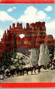 Horse Tour,  Gastler's Castle in Bryce Canyon National Park Vintage Postcard OO