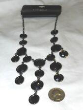 NWT Gabrielle K Black Acrylic Bib Necklace Antiqued Silvertone Chain