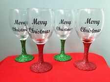 5 x Personalised Glitter Christmas Wine Glasses - any colour,any wording if fits