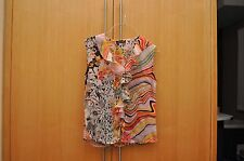 Multi-Color Summer Button Down with Ruffles Top Sz. S