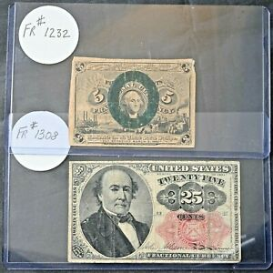 Two Fractional Currency Notes - 25¢ FR 1308 5th Issue 5¢ Cents FR 1232 2nd Issue