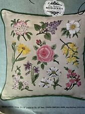 Elsa Williams Flowers of 13th Original States Pillow Linen Crewel Embroidery Kit