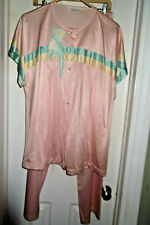 Vtg 1970s pastel pink Vanity Fair pj set button front L nice retro Art Deco chic