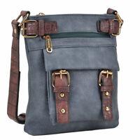 Dasein Women Handbag Soft Leather Messenger Crossbody Bag Shoulder Purse