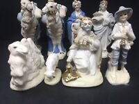 Vintage 8 Piece Ceramic Nativity Set 3 Kings Wise Men Camels White Blue Gold GUC