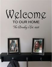 Welcome to Our Home Name Est. Date Wall Sticker Wall Decor Vinyl Decal Lettering