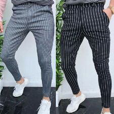 Mens Slim Fit Striped Business Formal Pants Casual Office Skinny Pencil Trousers