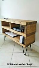 TV Stand/TV Unit/Rustic Handmade Furniture/Hairpin Legs/Solid Pine Wood/Cabinet