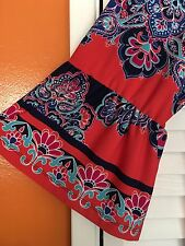 2X New Peasant Top Floral Dress Sundress Blue Coral White Boho 18/20