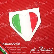 1 Adesivo resinato 3D auto moto casco CUORE tricolore italia 6 cm