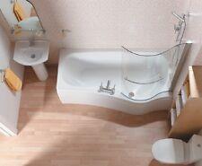 SANINOVA 'P' SHOWER BATH & FRONT PANEL,1500 X 880mm LEFT or RIGHT HANDED,mrp£687
