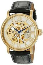 Akribos XXIV AK540YG Mechanical Skeleton Black Leather Strap Goldtone Mens Watch