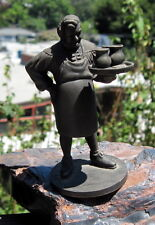 """Vintage Franklin Mint 1974 Pewter """"The Innkeeper"""" Holding A Tray W/2 Mugs of Ale"""