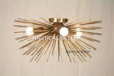 Mid century 3 Bulbs Sputnik Low Ceiling Chandelier Light Brass Urchin Sputnik