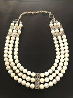 Vtg 20s Art Deco 3 Tier/Row Milk Glass/Silver Tone Pearl Choker Flapper Necklace