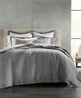 Hotel Collection Full/Queen Duvet Cover Natural Linen Flan Grey E96126