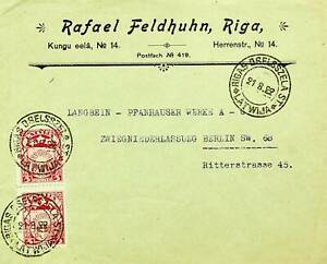 LATVIA 1922 5R PAIR ON COVER FROM RIGA TO GERMANY