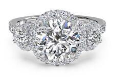 3.49 ct Round Diamond Wedding Three stone Engagement Ring 14ct White Gold