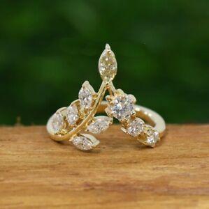 2.10 ct Marquise Cut Diamond Tiara Engagement Ring 14k Yellow Gold Finish