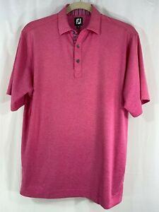 FootJoy Mens Short Sleeve Pink Heather Polo Golf Shirt L