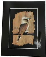 LAUGHING KOOKABURRA - REAL FEATHERS -Signed By Artist - BARKART PRINT
