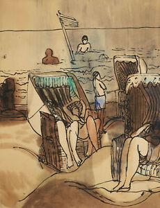 Ulrich Knispel, Am Strand, Tusche und Aquarell auf Büttenpapier, um 1950